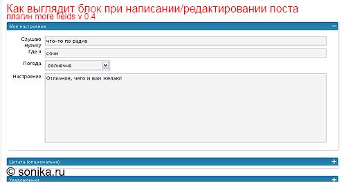 Как выглядит созданный блок при написании/редактирования поста (плагин more fields v0.4)